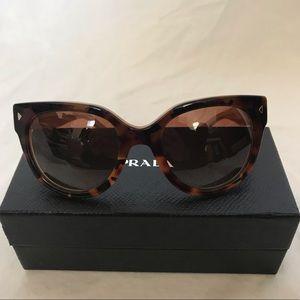 Prada 54mm Cat Eye Tortoise Polarized Sunglasses